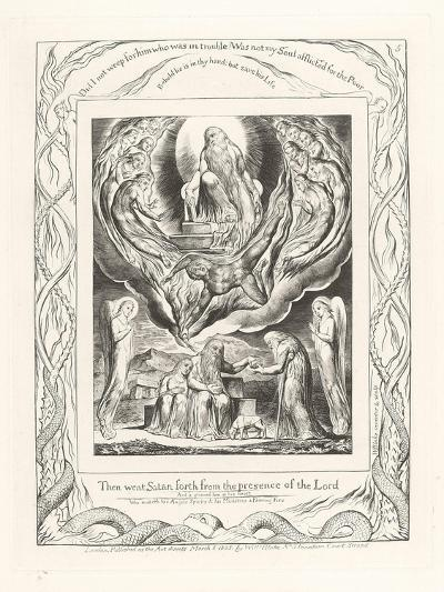 Then Went Satan Forth from the Presence of the Lord, 1825-William Blake-Giclee Print