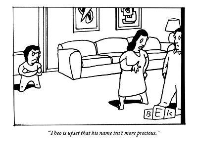 """Theo is upset that his name isn't more precious."" - New Yorker Cartoon-Bruce Eric Kaplan-Premium Giclee Print"