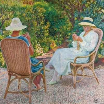Maria und Elisabeth van Rysselberghe beim Stricken im Garten. Um 1912
