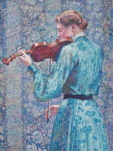 Marie-Anne Weber Playing the Violin, 1903 by Theo van Rysselberghe