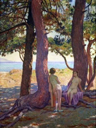 Two Female Nudes under Pine Trees