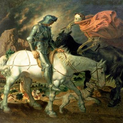Don Quixote with Death, Based on 'The Knight, Death and the Devil' by Albrecht Durer (1471-1528),…
