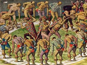 "A Barbarian Celebration, from ""Navigatio in Brasiliam Americae"" by Theodor de Bry"