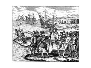 Christopher Columbus, Genoese Explorer, Discovering America, May 1492 by Theodor de Bry