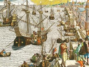 """Departure from Lisbon for Brazil, the East Indies and America,From """"Americae Tertia Pars..."""" by Theodor de Bry"""