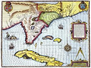 Florida: Map, 1591 by Theodor de Bry