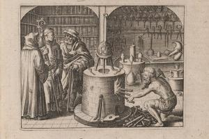 Illustration for Tripvs Avrevs, Hoc Est, Tres Tractatvs Chymici Selectissimi.., 1618 by Theodor de Bry