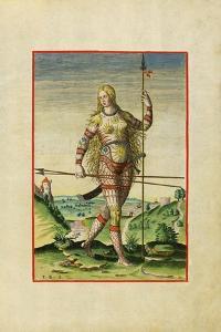 Illustration of Feminae Pictea from Theodor Debry's Narratio Virginiae, 1590 by Theodor de Bry