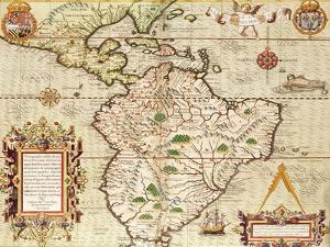 """Map of Central and South America, from """"Americae Tertia Pars.."""", 1562 by Theodor de Bry"""