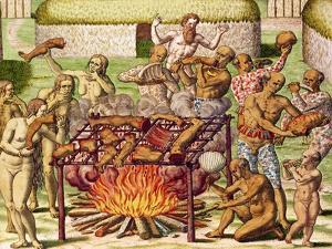 "Scene of Cannibalism, from ""Americae Tertia Pars..."", 1592 by Theodor de Bry"