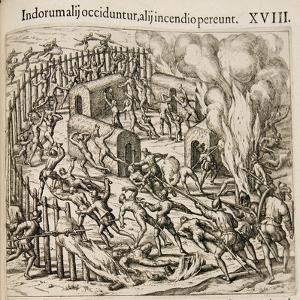 Some Indians are Killed, Some Perish in a Fire by Theodor de Bry