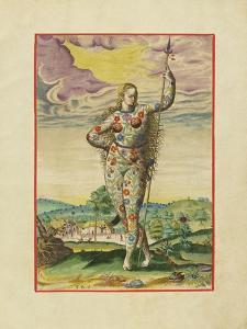Virginis Pictea. Pict Woman Covered in Floral and Vegetation Bod by Theodor de Bry