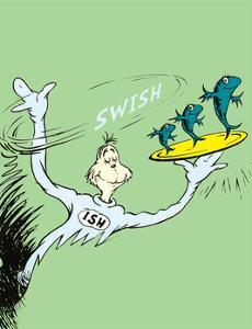 One Fish, Two Fish, Red Fish, Blue Fish (on green) by Theodor (Dr. Seuss) Geisel