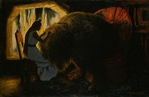 The Princess Picking Lice from the Troll by Theodor Kittelsen