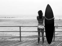 Model with Black Surfboard Standing on Boardwalk and Watching Wave on Beach-Theodore Beowulf Sheehan-Photographic Print