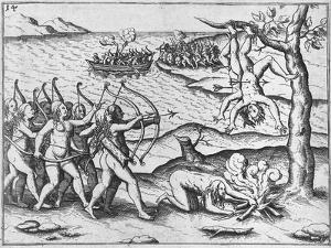 Amazon Women Attack Men Strung Up in Trees by Theodore de Bry
