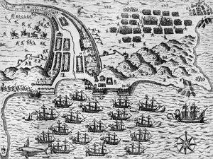 Attack on Santiago on 27th November 1585 by Theodore de Bry