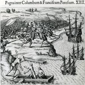 Battle in Jamaica Between Christopher Columbus (1451-1506) and Francisco Poraz by Theodore de Bry