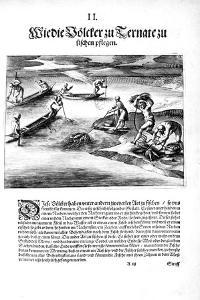 Fishing with Indians, 1606 by Theodore de Bry