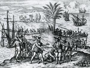Francisco De Bobadilla Arriving as Governor and Arresting Christopher Columbus (1451-1506) in Hispa by Theodore de Bry