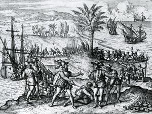 Francisco De Bobadilla Arriving as Governor and Arresting Christopher Columbus (1451-1506) in Hispa by Theodore de Bry