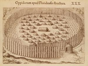 Native Village in Florida from the Discourse of Florida, 1563 by Theodore de Bry
