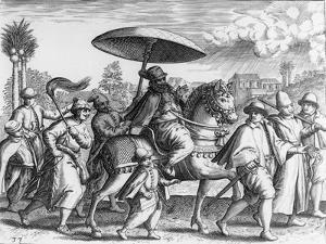 Portuguese Officials in India, 1599 by Theodore de Bry