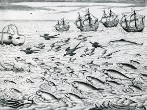 Seascape from 'India Orientalis', 1598 by Theodore de Bry