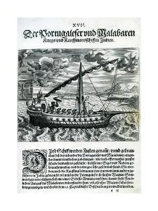 Ship from 'India Orientalis', 1598 by Theodore de Bry