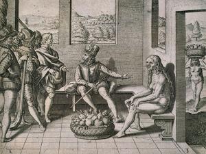 Spanish Conquerors Meeting Native Women in America, 1590 by Theodore de Bry