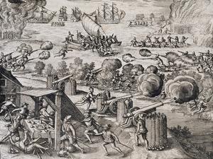 The Dutch Fleet Attack the Spanish Fortress of Gratiosa on Gran Canaria by Theodore de Bry