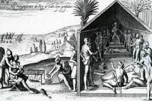 The King Receiving European Visitors, Cape Lopez, Gabon, Africa, 16th Century by Theodore de Bry