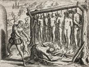 Thirteen hanged and burned victims by Theodore de Bry