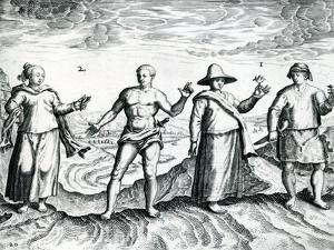 Two Men and Two Women from 'India Orientalis', 1598 by Theodore de Bry