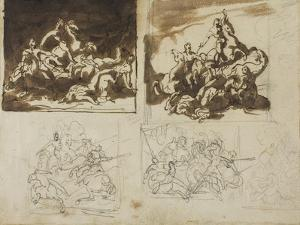 Five Sketches for a Cavalry Battle, 1813-14 by Theodore Gericault