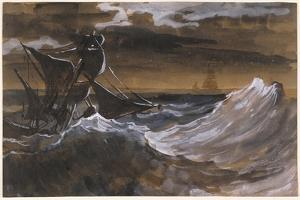 Sailboat on a Raging Sea, c.1818-9 by Theodore Gericault