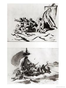 Two Sketches for the Raft of the Medusa, circa 1819 by Théodore Géricault