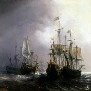 Capture of Three Dutch Commercial Vessels by the French Ships Fidèle, Mutine and Jupiter, in 1711 by Théodore Gudin