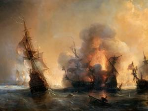 The Naval Battle of Lagos on 27 June 1693 by Théodore Gudin