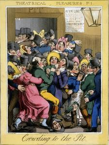Crowding to the Pit, Plate 1 from Theatrical Pleasures, Pub. Thos. Mclean, London, 1821 by Theodore Lane