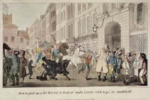 People Bargaining for Mounts at West Smithfield, London, 1825 by Theodore Lane