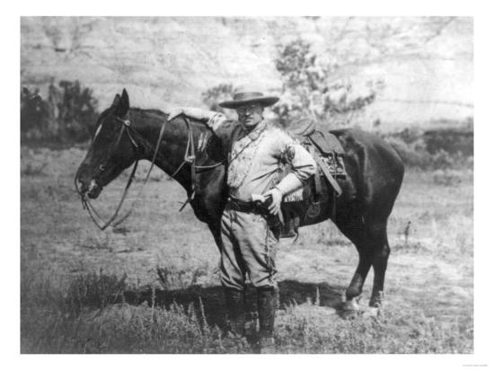 Theodore Roosevelt Dressed as Cowboy next to Horse Photograph - NA-Lantern Press-Art Print