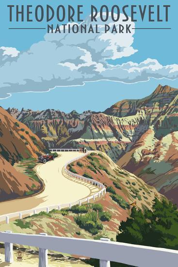 Theodore Roosevelt National Park, Nouth Dakota - Road Scene-Lantern Press-Art Print