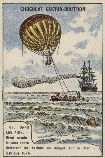Theodore Sivel Testing a Cone-Shaped Balloon Anchor over the Baltic Sea, 1874--Giclee Print