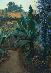 Garden of the Potter Hotel by Theodore Wores