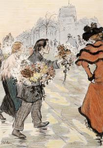 A Street Scene with Flower Vendors by Théophile Alexandre Steinlen