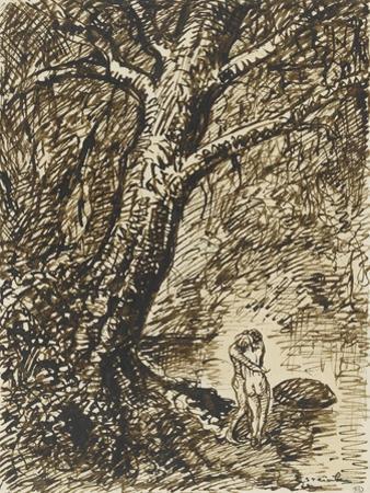 L'heureux moment : couple nu, debout, enlacé sous des grands arbres