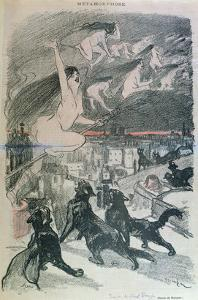 Metamorphosis - Black Cats Transforming Themselves into Witches, Late 19th Century (Colour Litho) by Théophile Alexandre Steinlen