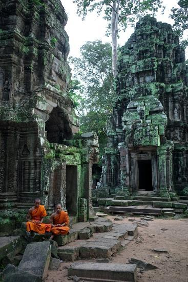 Theraveda Buddhist Monks at the Ta Prohm Temple in the Angkor Complex-Kike Calvo-Photographic Print