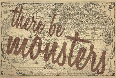 There Be Monsters - 1562, World Map--Giclee Print